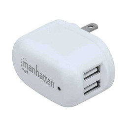 Manhattan 101738 5V 2.1A Dual-Port PopCharge Home USB Wall Charger