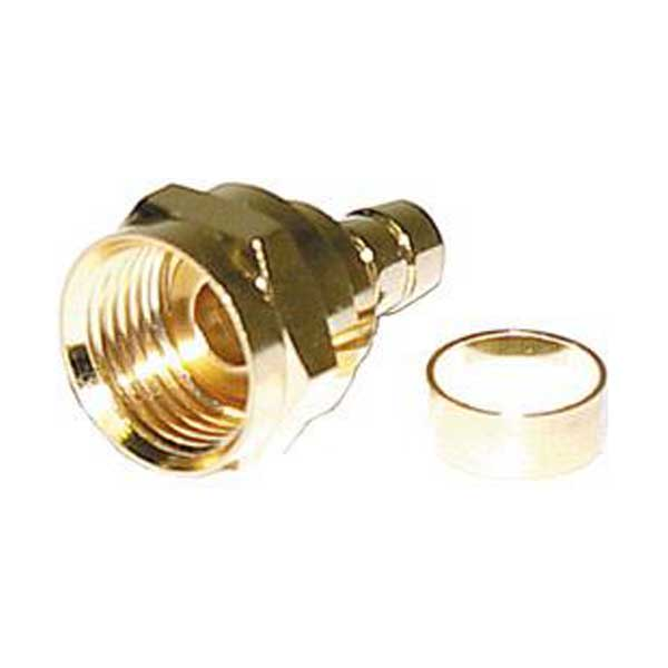 F Male Crimp Connector w/ Separate Ring (Gold) - RG-59