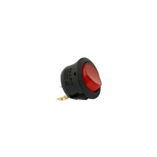 Lighted Snap-In Round Rocker Switch w/ Red AC Lamp - SPST
