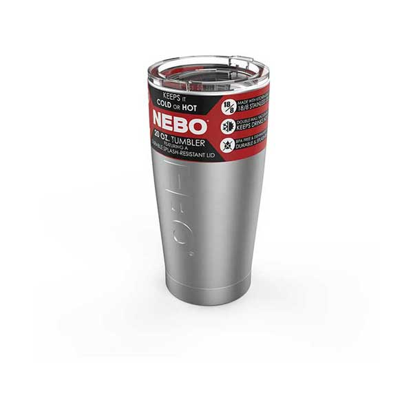 NEBO 6769 20oz Stainless Steel Double Wall Tumbler with Secure BPA-Free Dishwasher-Safe Lid