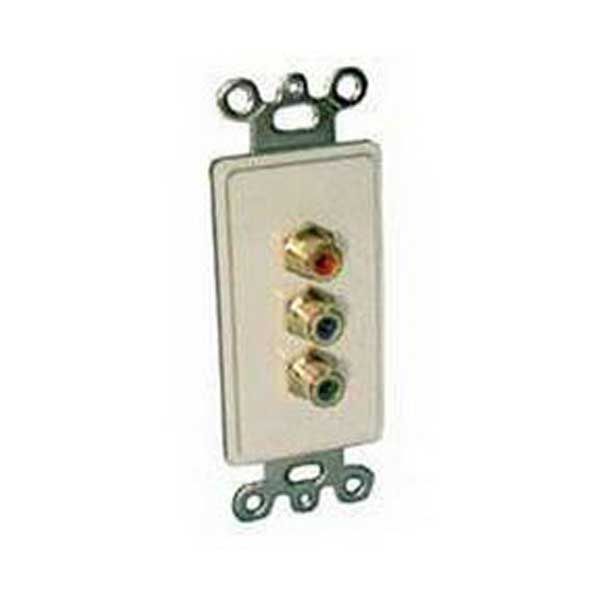 Designer Style Wall Plate Insert - 3 RCA Jacks (Red + Green + Blue)