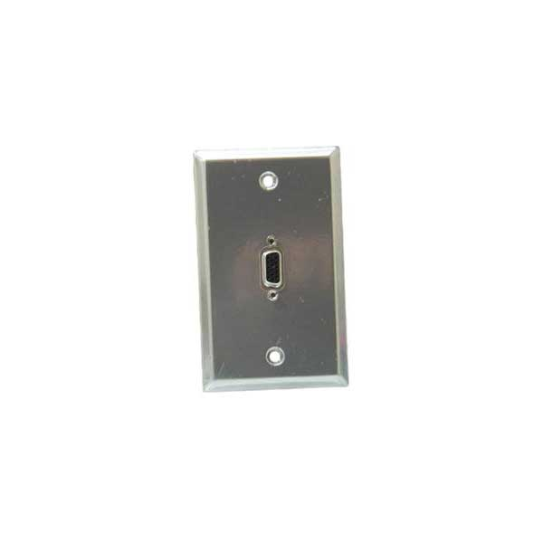 Metallic Gray - Stainless Steel Wall Plate with VGA (HD15) Feed-Thru Jack