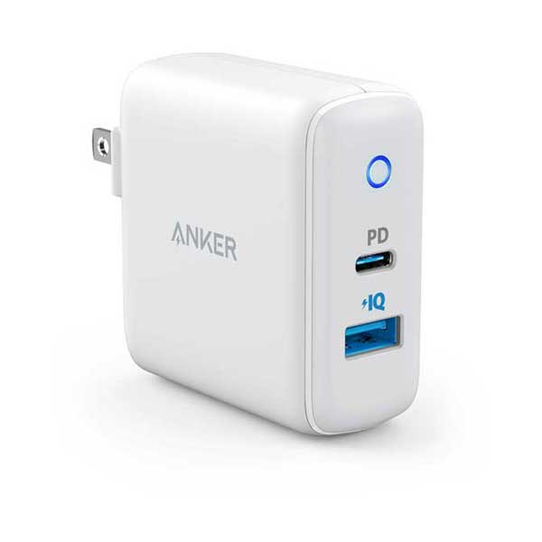 Anker A2321Z21 PowerPort PD 2 30W 2-Port Compact USB-C Charger with USB-A 18W Power Delivery and 12W PowerIQ with LED Indicator