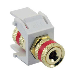 3-Way Binding Post Connector Module - Red w/ Ivory Insert