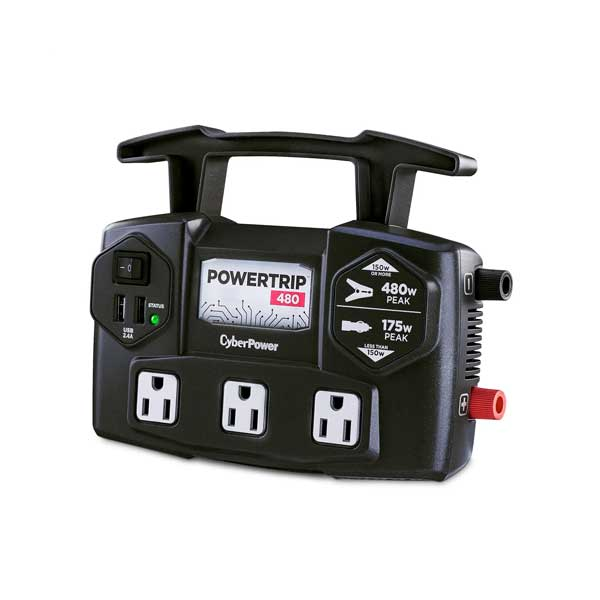 CyberPower CPS480TG2UB PowerTrip 480W Power Inverter with 3 AC Outlets and 2 USB-A Charging Ports