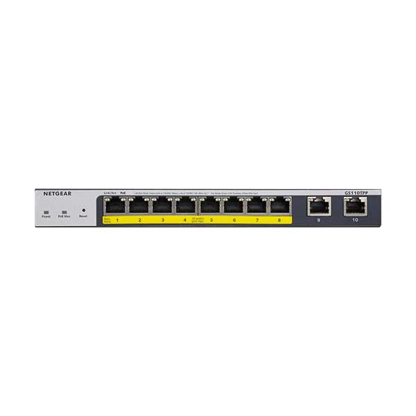 NETGEAR GS110TPP-100NAS 8-Port 120W Gigabit PoE+ Ethernet Smart Managed Pro Switch with 2 Copper Ports and Cloud Management