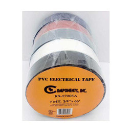 SR Components R5-17005A 5-Pack 7Mil 3/4in x 66ft Assorted Colors PVC Electrical Tape