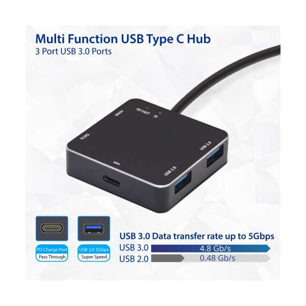 SYBA SD-HUB50115 USB 3.1 Gen 1 Type-C Multi-Function Hub with 2 USB 3.0, 1 USB 3.1 Gen 1, 1 HDMI, and PD Charging Ports
