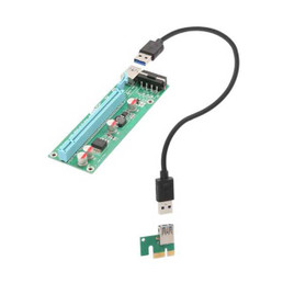 IOCrest PCI-E x1 to Powered x16 Riser Adapter Card USB 3.0 Extension Cable