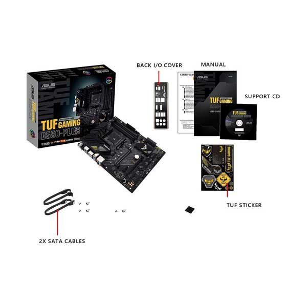 ASUS TUF GAMING B550-PLUS AMD Ryzen AM4 ATX Gaming Motherboard with Aura Sync RGB Lighting Support