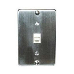 Stainless Steel Wall Plate w/ 4 Conductor Modular Jack